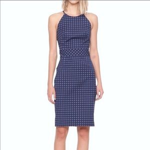 Banana Republic gingham bistretch racer neck dress